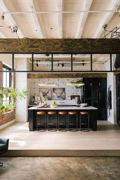 kitchen from queer eye loft Loft Kitchen, Farmhouse Style Kitchen, Modern Farmhouse Kitchens, Home Decor Kitchen, Home Kitchens, Kitchen Ideas, Warehouse Kitchen, Rustic Kitchen, Home Interior