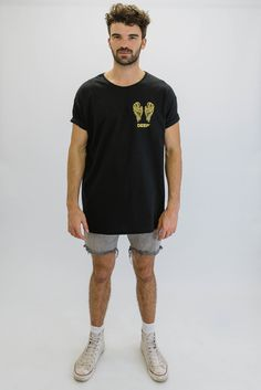 DEEP NO ANGEL Oversize T-Shirt - Black with Gold Print
