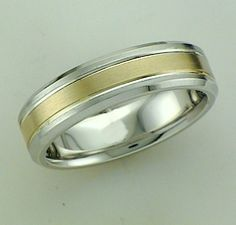 Silver And 14Kt Yellow Gold Wedding Band With Brushed Finish. 6MM Width