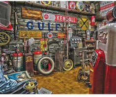 """Go on a vintage shopping Spree with """"pickers dream"""". this 1000 piece jigsaw puzzle features a massive collection of vintage memorabilia that any antique shopper would love to stumble upon! Garage Workshop Organization, Bedroom Organization, Man Cave Garage, Dream Garage, Puzzle Pieces, Decoration, 1000 Piece Jigsaw Puzzles, Cool Cars, Antiques"""