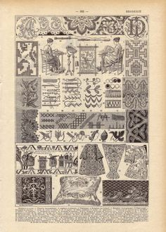 1922 Vintage EMBROIDERY French Dictionary Illustration.