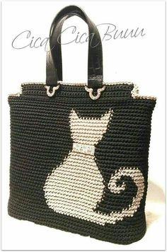 Crochet patterns for knitting bags Crochet Tote, Crochet Handbags, Crochet Purses, Knit Crochet, Tapestry Crochet Patterns, Knitting Patterns, Diy Bags Purses, Tapestry Bag, Purse Patterns