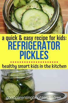The best refrigerator pickles recipe for kids to make. Easy, simple, quick, and nutritious. Kids will learn about fermentation, vinegar & kitchen science. Use the cucumbers from your garden for a multi-sensory experience. Refrigerator Pickle Recipes, Best Refrigerator, Kids Picnic, Picnic Ideas, Healthy Snacks For Kids, Healthy Eating, How To Make Pickles, Cucumber Benefits, Pickles Recipe