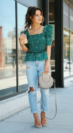 Romantic Tops + Distressed Denim Lately, my girly trend of choice is all things Romantic Blouses. Loving the puffy sleeves, cropped cuts, ruffles and ties! Cute Summer Outfits, Trendy Outfits, Cute Outfits, Fashion Outfits, Sweater Outfits, Denim Top Outfit, Cute Summer Tops, Fashion Top, Fashion Trends