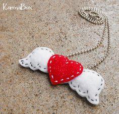 felt winged heart necklace