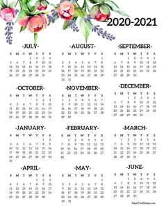 Calendar for the 2020-2021 school year in a floral design with peonies and lavender flowers. #papertraildesign #calendar #20202021calendar #2021schoolyear #20202021schoolyearcalendar #onepagecalendar