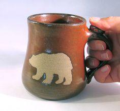 Bear Mug - Wild Animal Silhouette  - Handmade Pottery - Coffee Mug - 14 oz. mug -Pottersong Pottery - Tea Cup - Rust Red