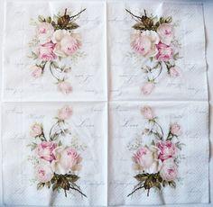 Servilletas papel 4x-Blanco con Flor de composición-Para Fiesta Decoupage Craft