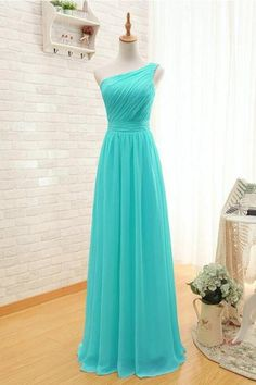 One Shoulder A-Line Bridesmaid Dresses Long Chiffon dress Turquoise Ball Gown Evening dresses Party dress