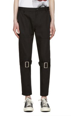 Comme des Garçons Shirt Black Belted Leg Trousers from SSENSE (men, style, fashion, clothing, shopping, recommendations, stylish, menswear, male, streetstyle, inspo, outfit, fall, winter, spring, summer, personal)