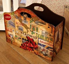 Decoupage a magazine holder or craft stash. Wooden Bag, Wooden Boxes, Diy Painting, Painting On Wood, Decor Crafts, Home Crafts, Decoupage Wood, Wood Magazine, Craft Stash