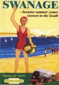 Vintage railway travel poster for Swanage Beach (England, U. Posters Uk, Train Posters, Beach Posters, Railway Posters, Poster Prints, Retro Posters, British Travel, British Seaside, Advertising Poster