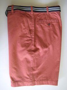 IZOD Men's Flat Front Bermuda Shorts 40 Light Red Watermelon with Belt NEW #IZOD #BermudaShorts