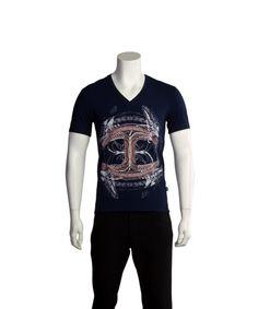 JUST CAVALLI JUST CAVALLI MEN CULTURED T-SHIRT DARK NAVY'. #justcavalli #cloth #t-shirts