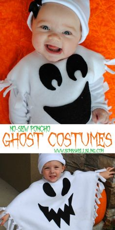 Make a cute no-sew ghost costume for your little spook with this tutorial. Ghost ponchos are so much cuter than the traditional sheet-over-the-head costume! disfraz fantasma No-Sew Ghost Costume Tutorial Anyone Can Make Halloween Kostüm Baby, Handmade Halloween Costumes, Ghost Halloween Costume, Ghost Costumes, Devil Costume, Halloween Halloween, Vintage Halloween, Halloween Makeup, Vampire Costumes