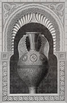 Alhamra, An Arabian Vase and Niche. The Arabian antiquities of Spain, Classic Architecture, Architecture Details, Mosque Architecture, Vintage Drawing, Detailed Drawings, Gothic Art, Moorish, Stone Carving, Art Object