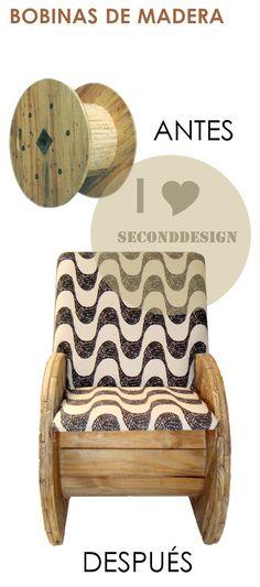 Bobinas de Madera en silla