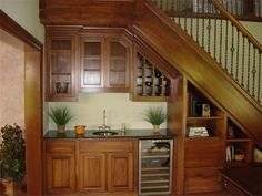 stair design with mini bar with faucet and sink : Under Stair Design With Mini Bar. bar under stairs ideas,built bar under stairs,house stairs design,mini bar under stair,stair design ideas Stairs In Kitchen, Storage Under Staircase, Mini Bar, Basement Remodeling, Stairs Design, Basement Bar Designs, Stairs, Home, Home Stairs Design