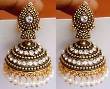Ethnic Bollywood White Gold Bridal Indian Pearl Earrings Jhumka Jhumki Jewelry