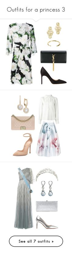 """""""Outfits for a princess 3"""" by neeeea ❤ liked on Polyvore featuring ADAM, Manolo Blahnik, Yves Saint Laurent, Ippolita, See by Chloé, Ted Baker, Gianvito Rossi, Chanel, Mémoire and Raishma"""
