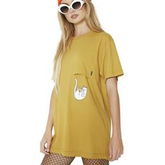 RIPNDIP Falling For Nermal Tee (120 PLN) ❤ liked on Polyvore featuring tops, t-shirts, ripndip, beige top, pocket t shirts, pocket tees and beige t shirt