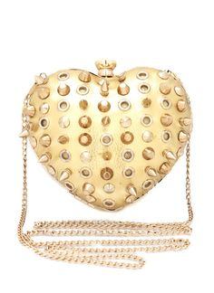 Gold spiked heart shape evening bag! So cute!
