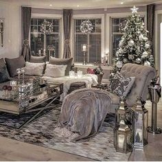Silver living room decor living living room ideas together with ravishing photo black white and silver . Christmas Living Rooms, Cozy Living Rooms, Living Room Grey, Apartment Living, Interior Design Living Room, Living Room Designs, Cozy Apartment, Shabby Chic Grey Living Room, Living Room Decor Silver