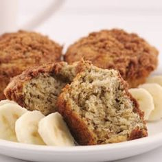 Banana Crumb Muffins - I've made these twice now, and they're delicious!    http://allrecipes.com/recipe/banana-crumb-muffins/Detail.aspx