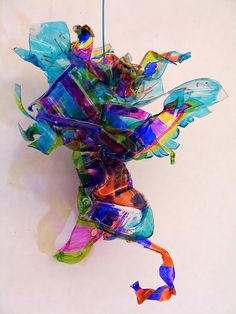 Plastic sculptures inspired by Dale Chihuly