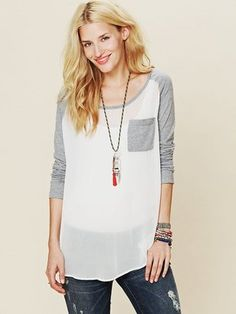 ShopStyle: We the Free, a line designed exclusively by Free People We The Free Raglan Sheer Top
