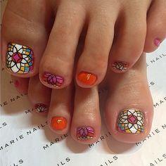 Toenails by marienails_jpn Finger Nail Art, Toe Nail Art, Painted Toes, Toe Nail Designs, Nailart, Love Nails, Pretty Little, Pedicures, Mary