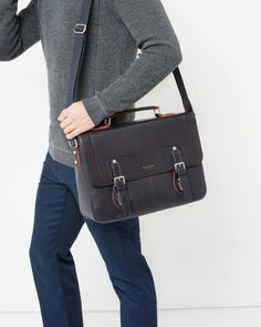 Colour block leather satchel - Navy | New Arrivals | Ted Baker UK