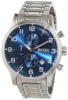 Montre Boss Aeroliner Homme 1513183 - Quartz - Analogique - Cadran et Bracelet en Acier inoxydable Argent - Date