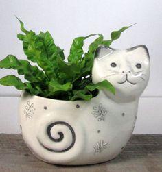 Cat Planter ready to ship by ceramiquecote on Etsy