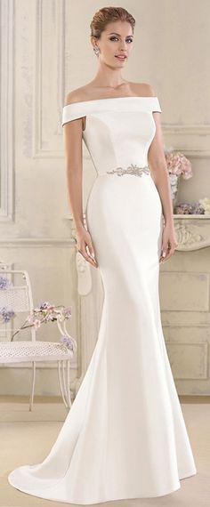 e16450e7f314f Elegant Satin Off-the-shoulder Neckline Mermaid Wedding Dresses With  Beadings & Rhinestones