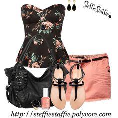 Coral, Black & Floral Peplum by steffiestaffie on Polyvore