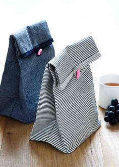 Button Lunch Bags | 20 Simple Sewing Projects That Any Beginner Can Make