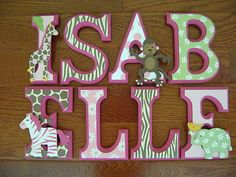 Custom Hand-Painted Wood Letters for CARTERS JUNGLE JILL Baby Crib Bedding New