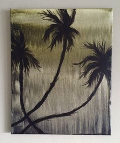 """Original """"Morning Sadness"""" Palm trees sway in motion from the coastal breeze. Black & yellow acrylic painting. By Art Room 278. 16 x 20 $65.00"""
