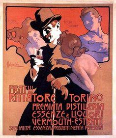Fratelli Rittatore Torino poster by Adolfo Hohenstein Vintage Advertisements, Vintage Ads, Vintage Prints, Graphics Vintage, Vintage Graphic, Art Nouveau Poster, Art Deco Posters, Poster Ads, Advertising Poster