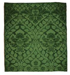 Deep green, Italian silk damask fragment, first half 16th century. Extraordinary weave and pattern. A vernal silk! From the Metropolitan Museum of Art @metmuseum