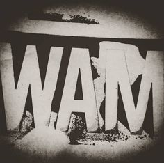 """WAM LOGO. we are mist.  """"Born into this, dying for it"""". serigrafia."""