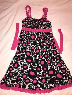 Girls Size 14 Dress By JUSTICE Black White & Pink Floral Summer Stretch Stylish #Justice #DressyEverydayHolidayParty