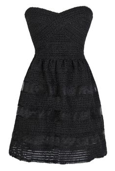Dolled Up Textured Strapless Dress in Black  www.lilyboutique.com