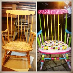 transformed old rocking chair to a fun rocking chair