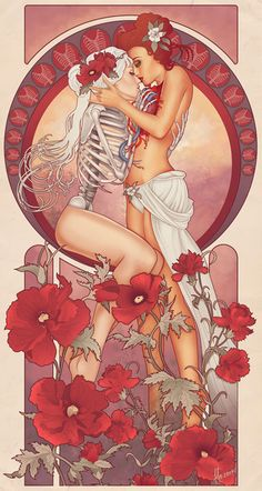 This anonymous artist combines textbook science imagery with an Art Nouveau style to achieve a strangely romantic look at the human form.