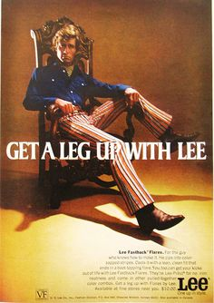 Artículos similares a 1970 Advertisement Lee Fastback Flares Jeans Mens Fashion Get A Leg Up Series Ornate Chair Throne Wall Art Decor en Etsy Retro Advertising, Fashion Advertising, Fashion Marketing, Weird Fashion, 1960s Fashion, Vintage Fashion, Mens Fashion, Seventies Fashion, Street Fashion