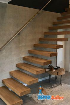 Kragarmtreppe mit Edelstahlhandlauf Bude, Stairs, Design, Home Decor, Future, Hand Railing, Stairways, Natural Living, Modern Architecture