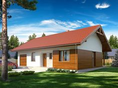 Nieduży jednorodzinny budynek mieszkalny, parterowy, z jednostanowiskowym garażem, zaprojektowany w technologii szkieletu drewnianego.