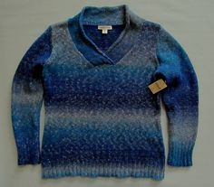 New Coldwater Creek Sweater XL 16 Blue Ombre Marled Wool Blend V-neck Metallic  #ColdwaterCreek #OmbreMarledSweater #SaveonYourStyle